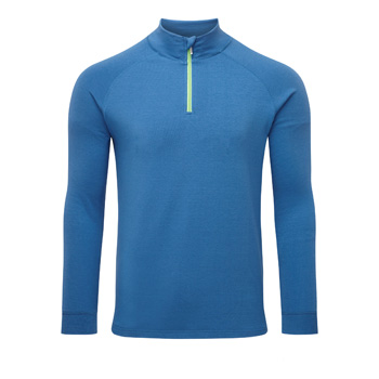Manbi Mens Soft-Tec Half Zip Thermal Top Blue/Lime