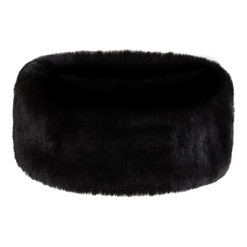 Manbi Wide Faux Fur Headband Chinchilla Black