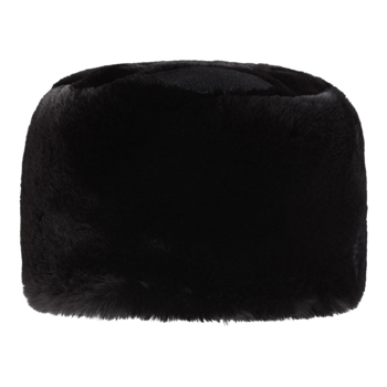 Manbi Fleece Top Faux Fur Cossack Hat Chinchilla Black